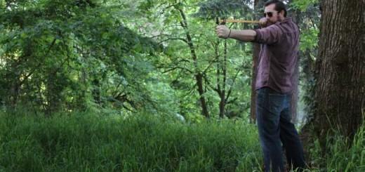 Montie Gear Slingshot in the woods in Oregon
